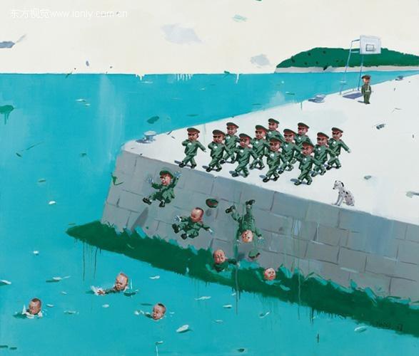 """Målning av Tang Zhigang (唐志刚, f. 1959) ur serien """"Kinesiska sagor"""" (中国童话)"""